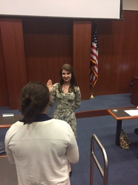 UNF Student Jaclyn Glosson was sworn in to her position by Chief Justice Elisabeth Avilla. Photo courtesy of Sami Mims