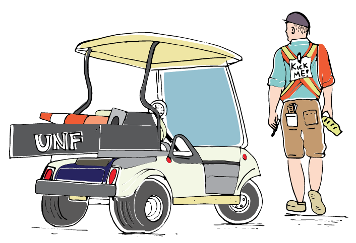 Parking Services employees get a bad rep, but they're just students trying to do their jobs. <i>Illustration by Mariana Martins.<i />