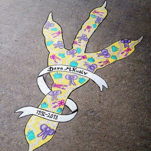 A painted talon honoring Dara sits between J. Brooks Brown Hall and the Student Union. Photo credit: Arielle Talmor