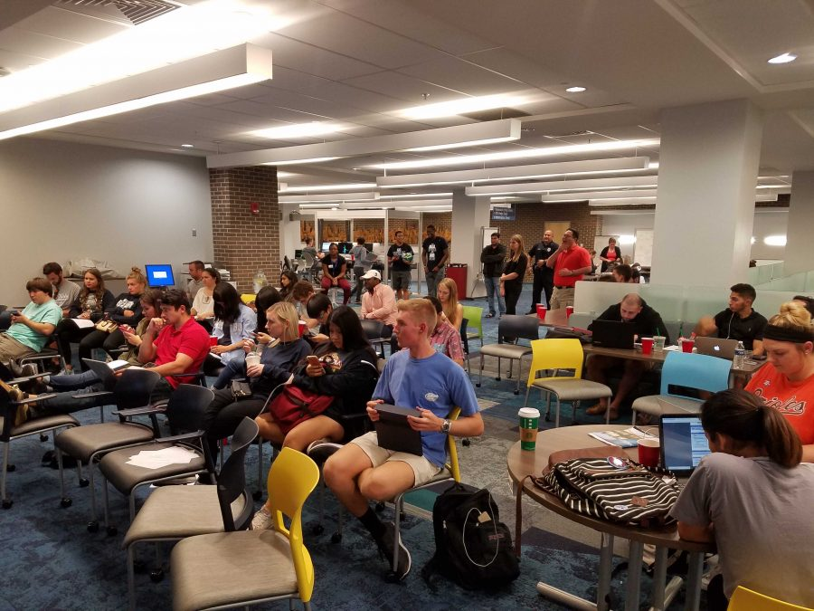 Students subdued at library election party