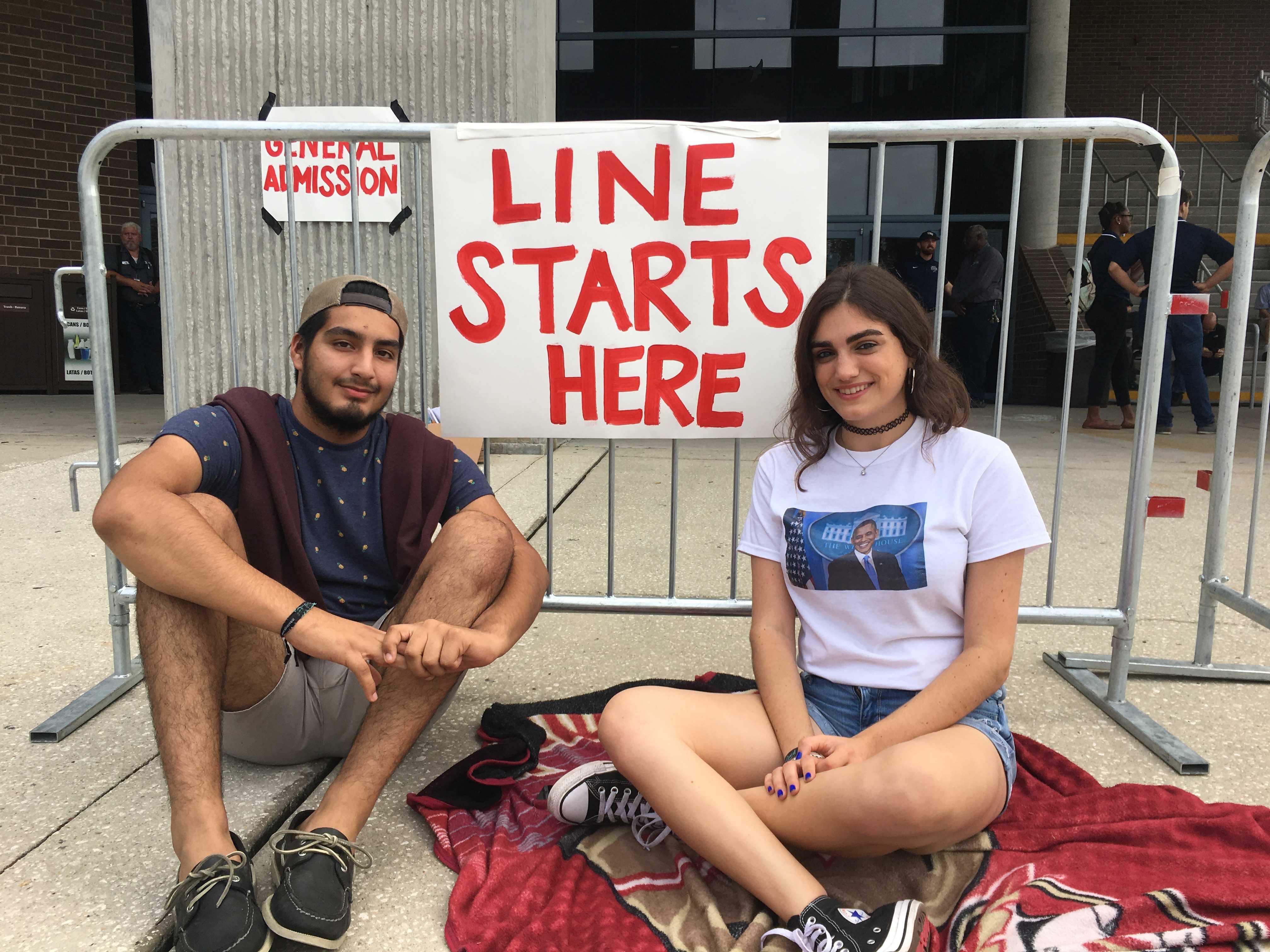 Sophomores Alexis Kmieck and Albaro Barrios got in line at 1 a.m. so they could be the first ones in. <i>Photo by Tiffany Butler</i>