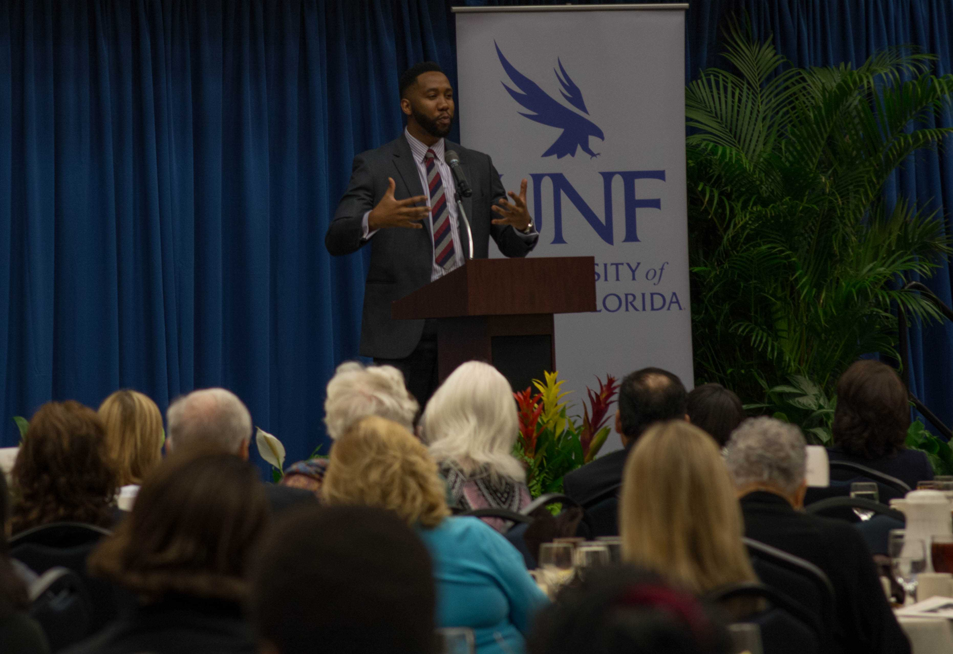 Nbada Mandela speaks to the attendees of the MLK luncheon. Photo by Lili Weinstein
