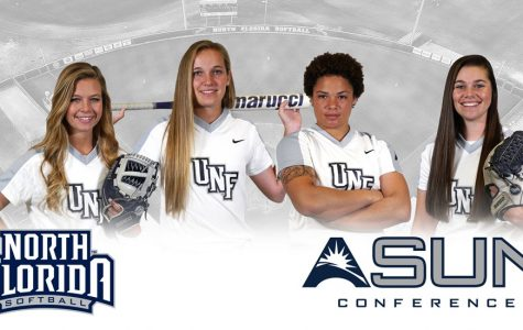 <b>From Left to Right: </b>Morgan Blourne, Kayla McGory, Navia Penrod, and Dominica Cocuzza. <i>Photo courtesy UNF Athletics</i>