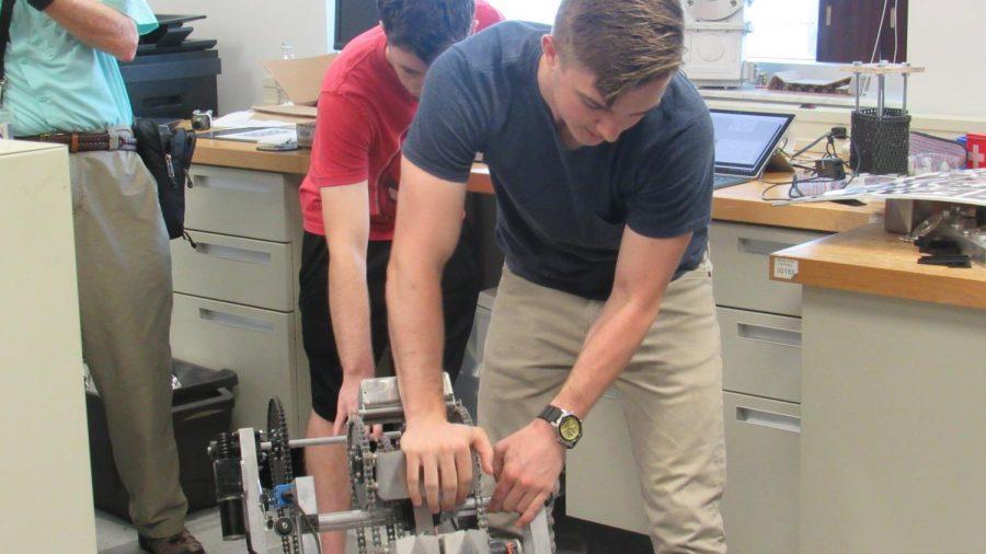 Harris Newsteder,mechanical engineering senior,  shows how Phobos works By Joslyn Simmons
