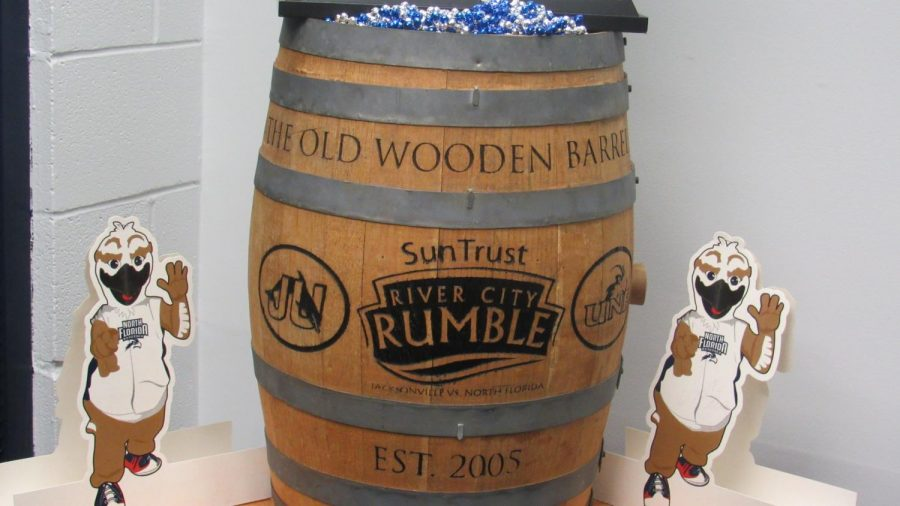 Photo of the Old Wooden Barrel and the Men's All Sports Trophy. Photo by Joslyn Simmons.