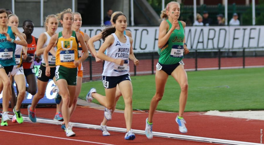 Junior Eden Meyer running in the NCAA 10,000 meters championship. Photo courtesy of UNF Athletics.