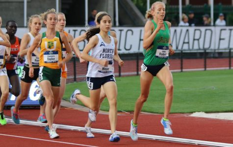 Eden Meyer running at Hayward Field. Photo courtesy of UNF Athletics