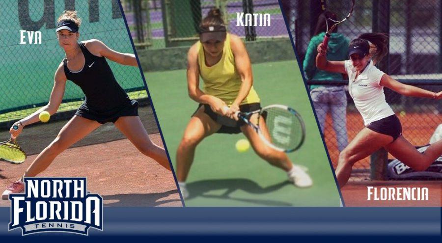 (L-R) Eva Nyikos, Katia de la Garza and Florencia Rossi. Photo courtesy of UNF Athletics.