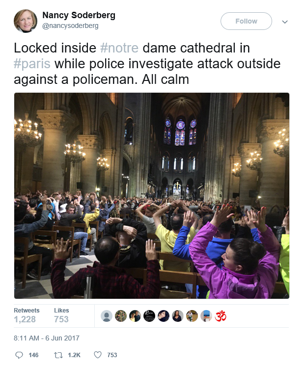 Locked inside #notre dame cathedral in #paris while police investigate attack outside against a policeman. All calm Courtesy of Nancy Soderberg