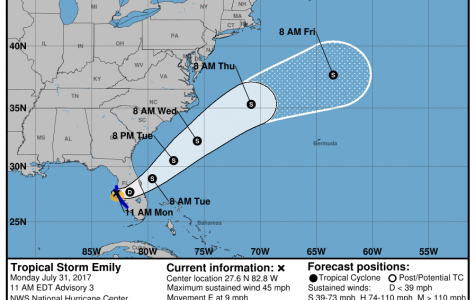 Tropical Storm Emily moves across central Florida
