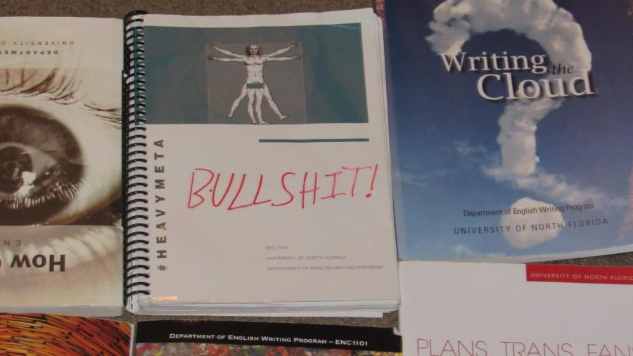 """DePaul despised one of the textbooks she used for a class in the 2015-2016 school year so much that she tried to stab it and wrote the word """"BULLSH*T"""" in permanent red marker on the cover. Photo by Joslyn Simmons"""
