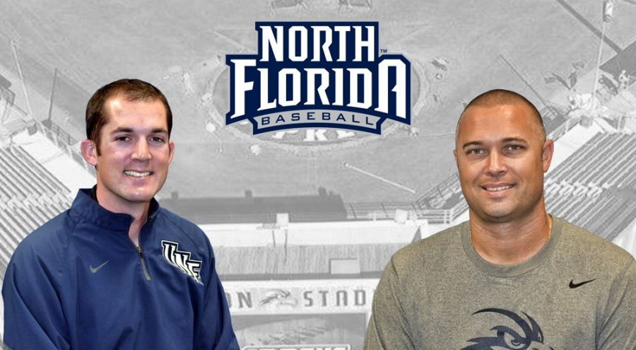 Andrew Hannon (left) and Tommy Boss (right) and excited about their new positions as the assistant coaches for the UNF baseball team.Photo courtesy of UNF Athletics.