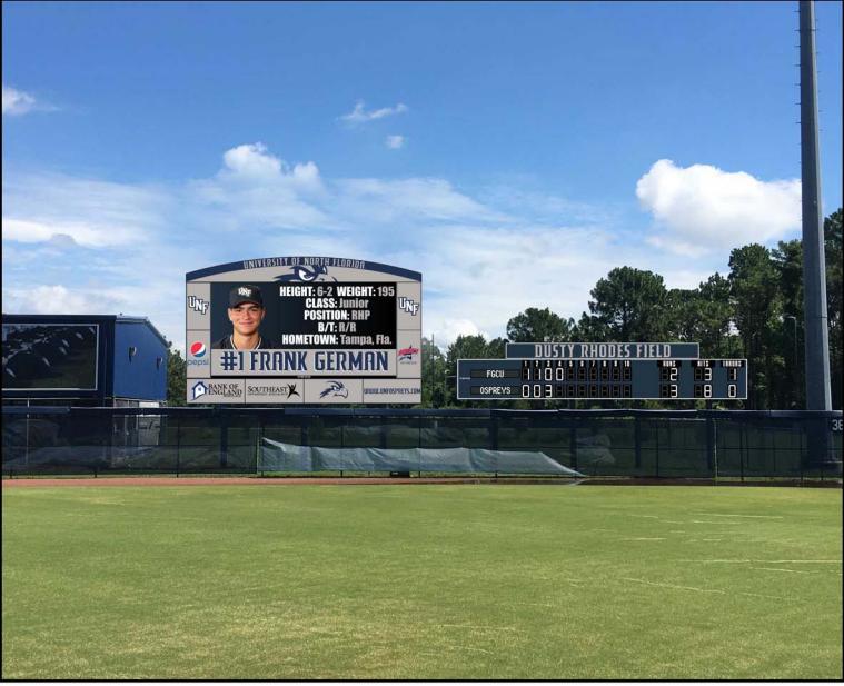 Image of the baseball scoreboard and video board design. Photo courtesy of UNF Athletics.