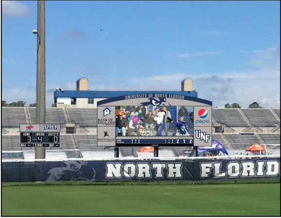 Image of the softball scoreboard and video board design.  Photo courtesy of UNF Athletics.