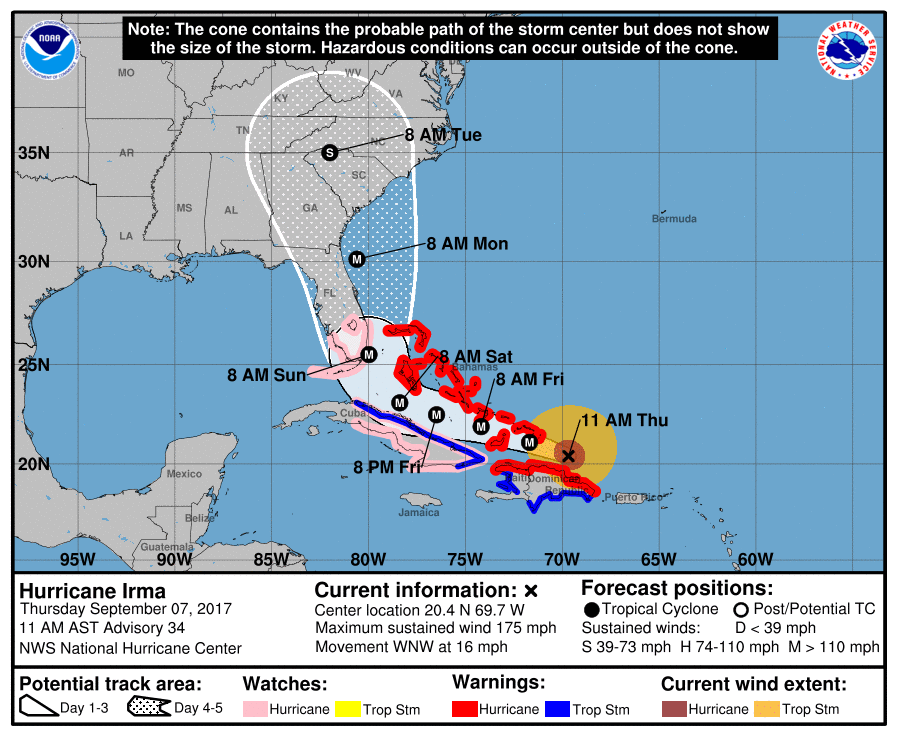 Highlighted in pink are the counties under Hurricane Watch. <i>NHC</i>
