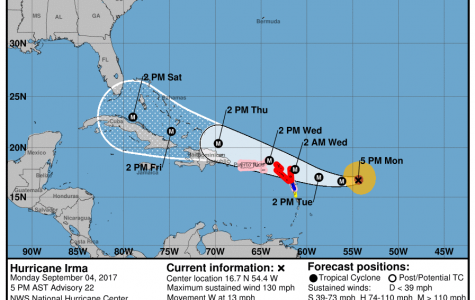 Hurricane Irma is predicted to impact Florida over the weekend. <i>Photo from National Hurricane Center.</i>