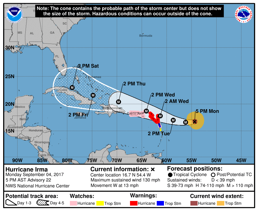 Hurricane Irma is predicted to impact Florida over the weekend. Photo from National Hurricane Center.