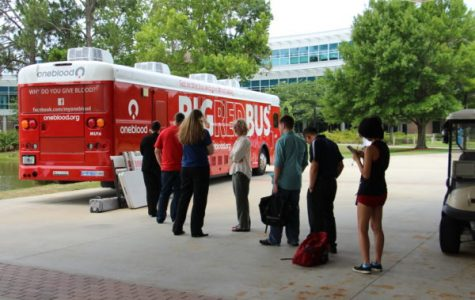 The Big Red Bus rolls onto campus