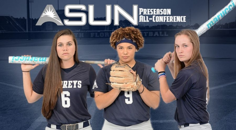 (L-R) Dominica Cocuzza, Navia Penrod, and Kayla McGory. Photo courtesy of UNF Athletics