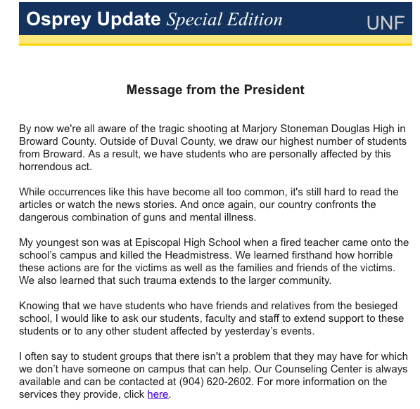 UNF President John Delaney sends out email to students regarding yesterday's shooting in Broward County.