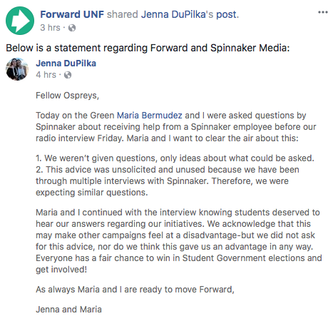 Spinnaker employee unethically gives Forward Party interview