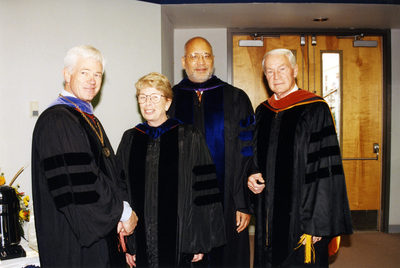 October 1, 1999 Inauguration of Anne  Hopkins. UNF Presidents l-r: Curtis McCray, Anne Hopkins, Adam Herbert, Thomas Carpenter