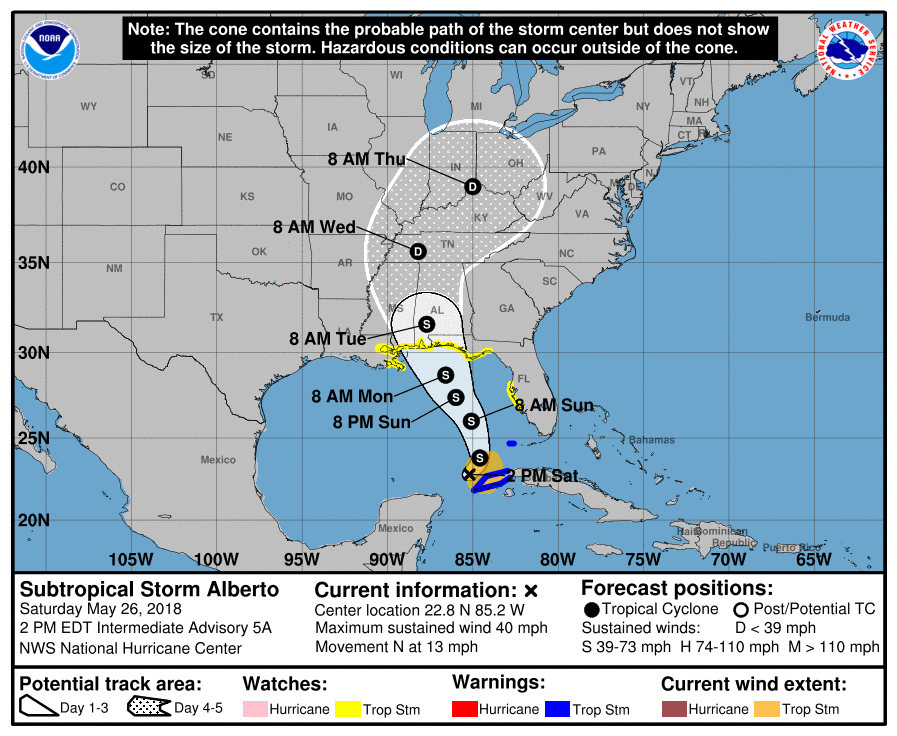 Subtropical Storm Alberto is predicted to make landfall late Monday night or early Tuesday morning. Courtesy of the National Hurricane Center.