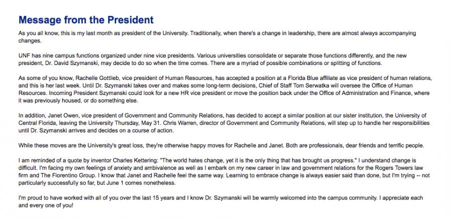 The full message from UNF President John Delaney.