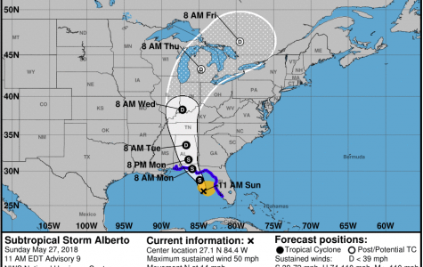 Subtropical Storm Alberto strengthens over the Gulf of Mexico