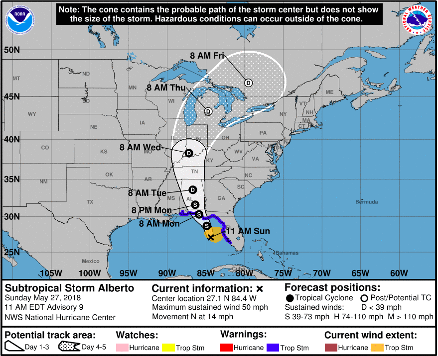 Subtropical Storm Alberto is predicted to strengthen slightly prior to landfall on the Gulf Coast. Courtesy of the National Hurricane Center.