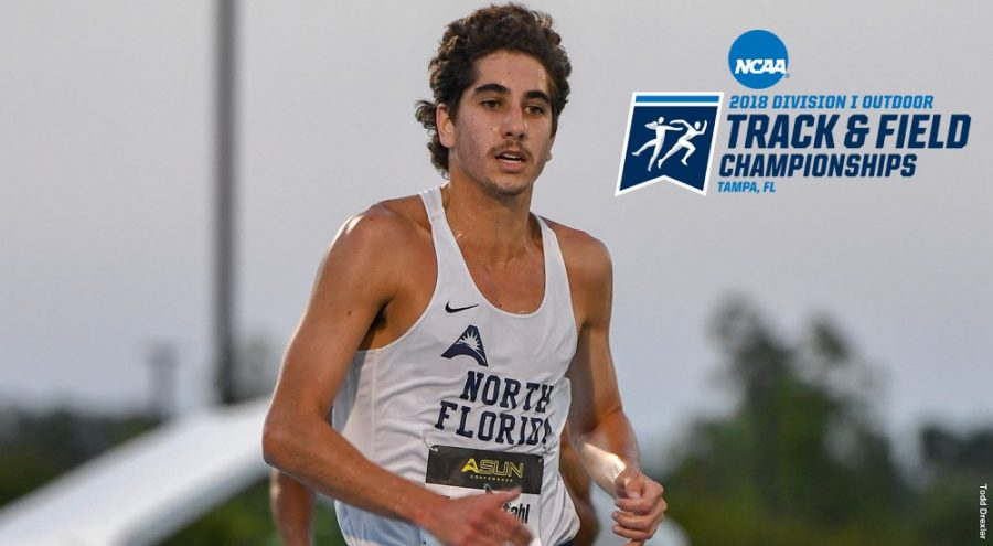 Senior Tyler Stahl finished the last race of his collegiate career. Photo courtesy of UNF Athletics.