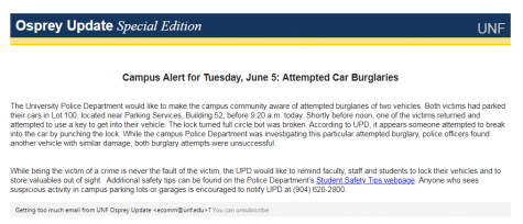 Campus crime alert: Attempted car burglaries - UNF Spinnaker