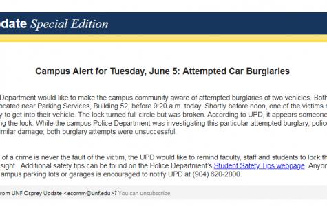 Campus crime alert: Attempted car burglaries