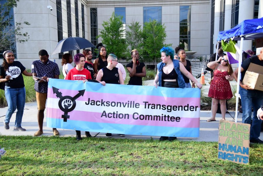 The Jacksonville Transgender Action Committee helped to host the rally outside of the Duval County Courthouse.