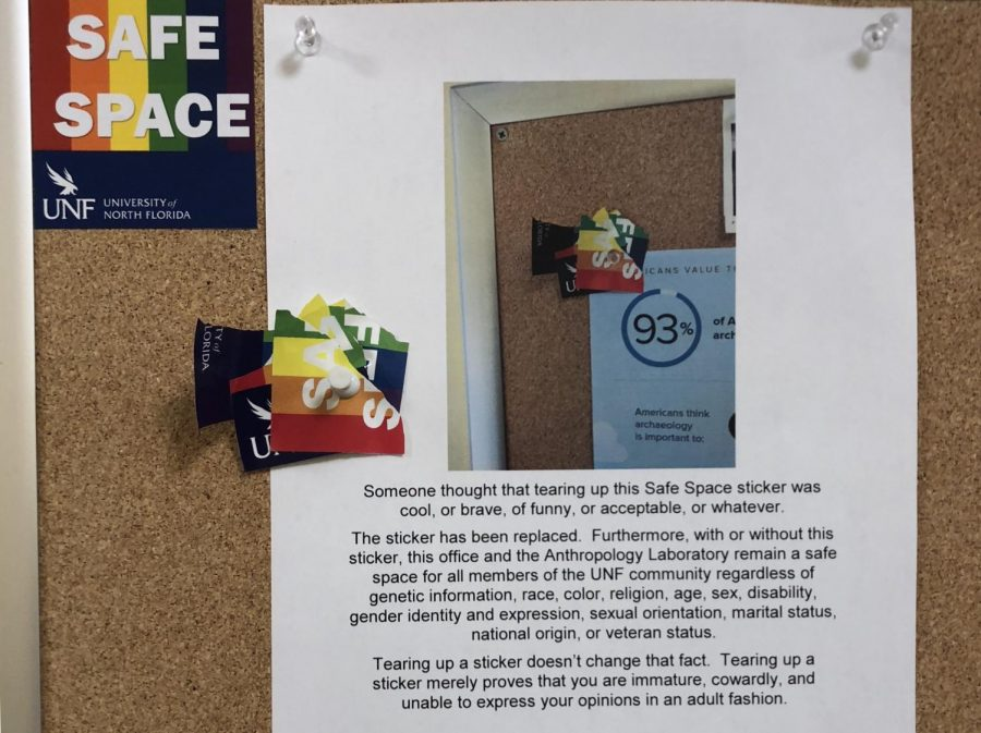 Response to a torn Safe Space sticker. Photo by Carly Kramer.