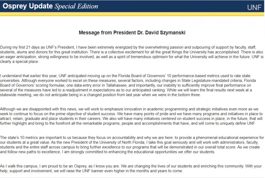 Special Osprey Update from President Szymanski
