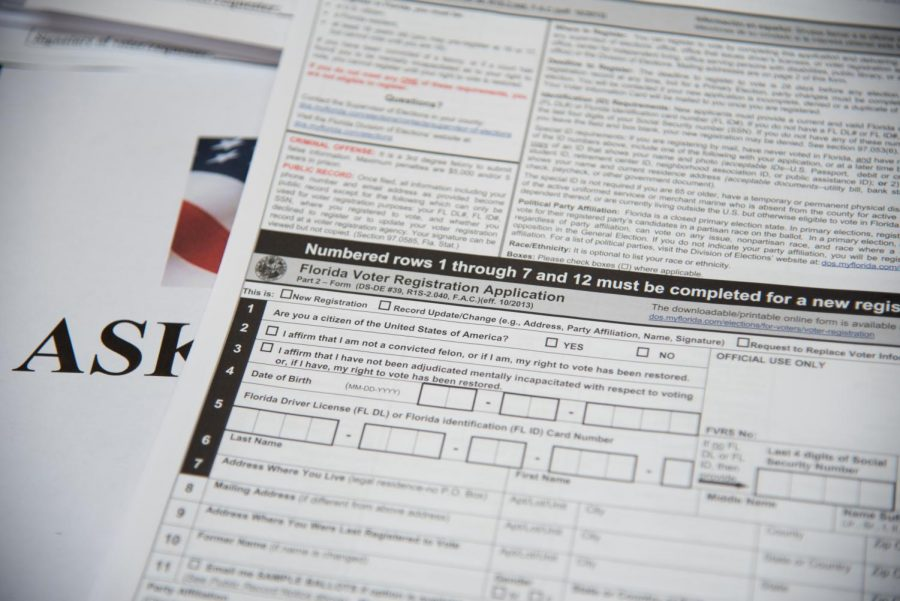 A voter registration form.