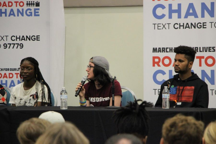 Student and activists on the panel answering questions and motivating others to get involved.
