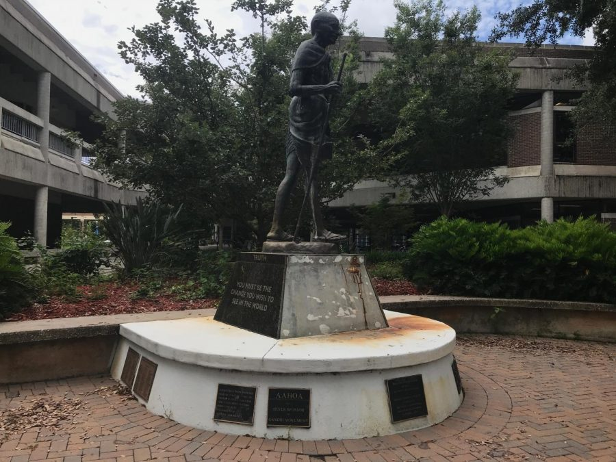 The Gandhi Statue in Peace Plaza is continuing to rust.