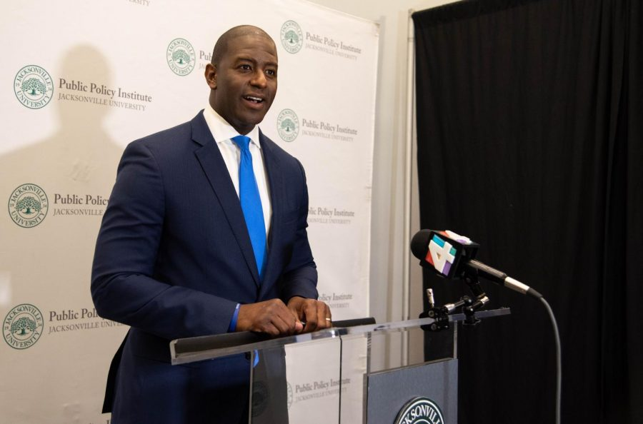 Andrew Gillum answers questions from the press after the Town Hall Forum.