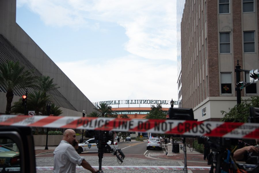 The Jacksonville Landing shortly after the shooting on Aug. 26.