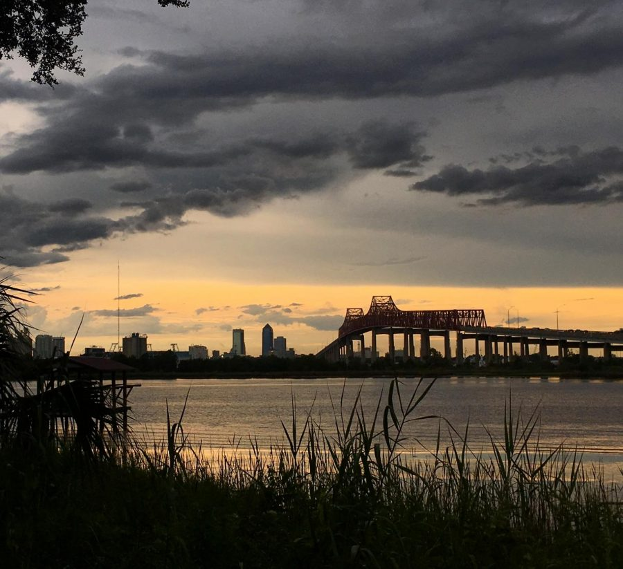 Storm clouds pass over the St. Johns River.