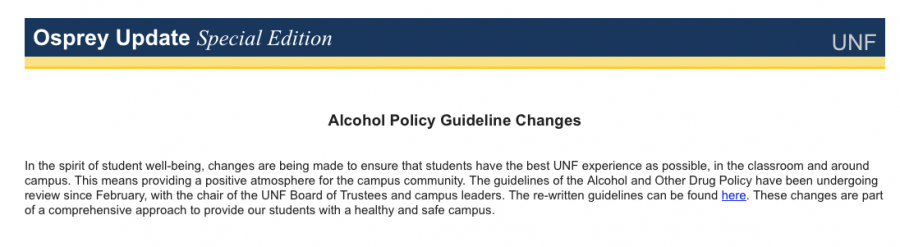 The new Alcohol policy change was announced over a Osprey Update.
