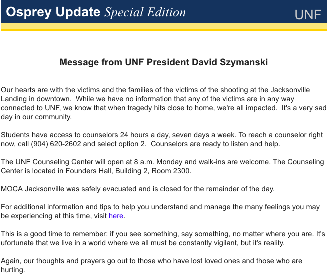 President Szymanski sends out Message from the President in response to Jacksonville shooting