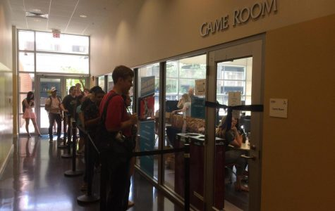 Students line up early to enter the new and improved Game Room.