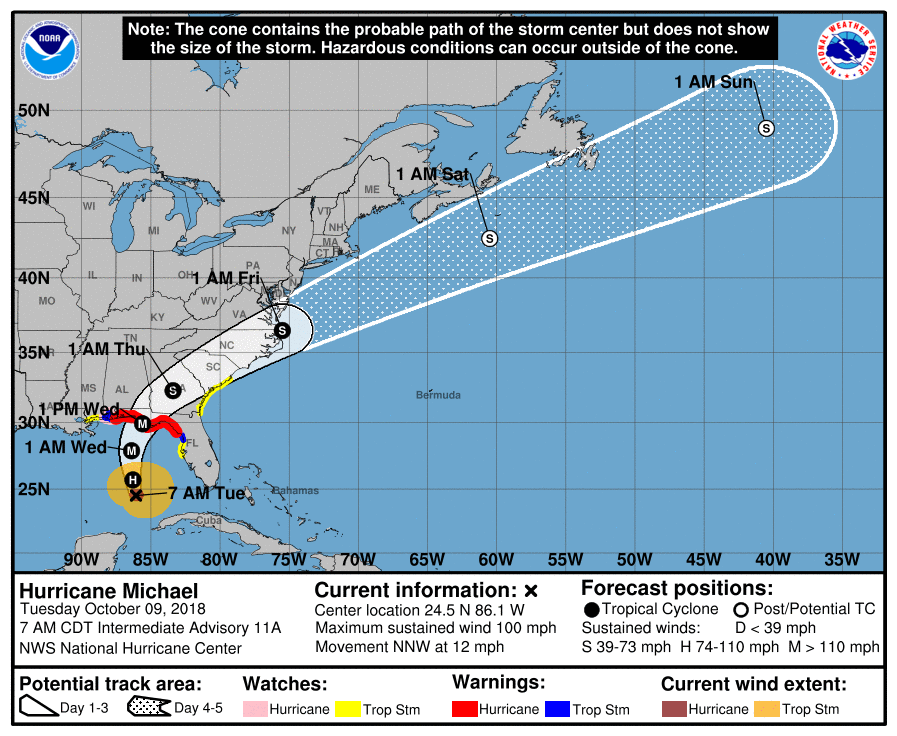 Hurricane Michael upgrades to a Category 2