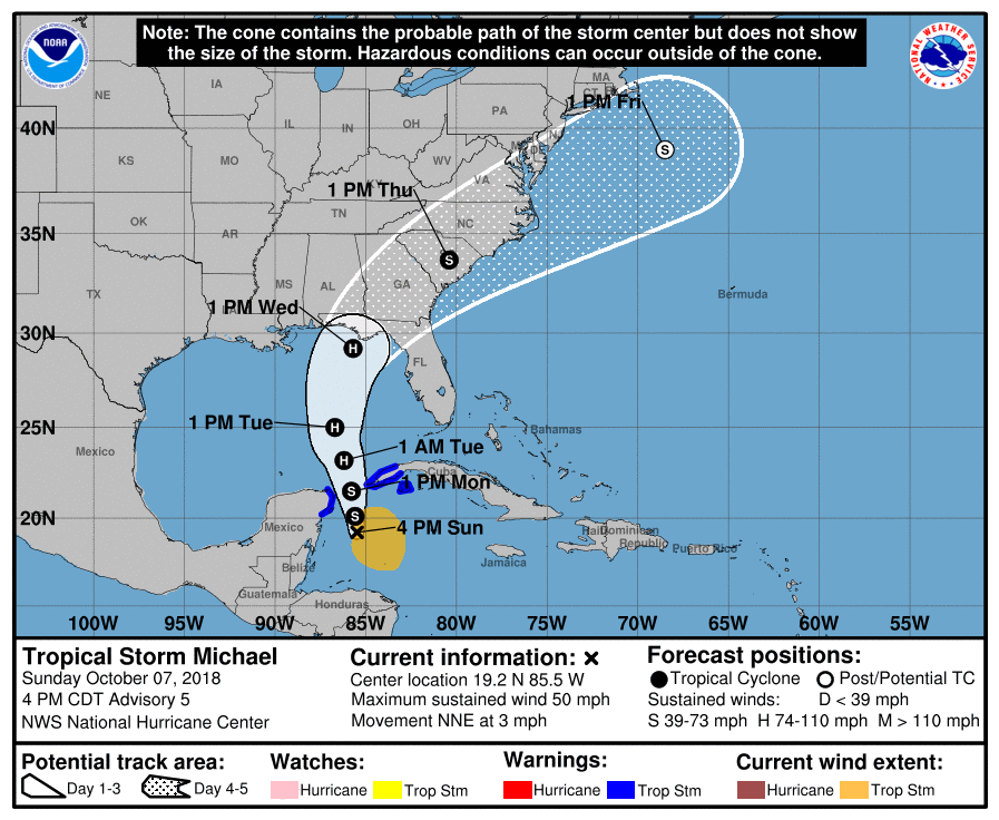 The tropical depression turned into Tropical Storm Michael Sunday afternoon.