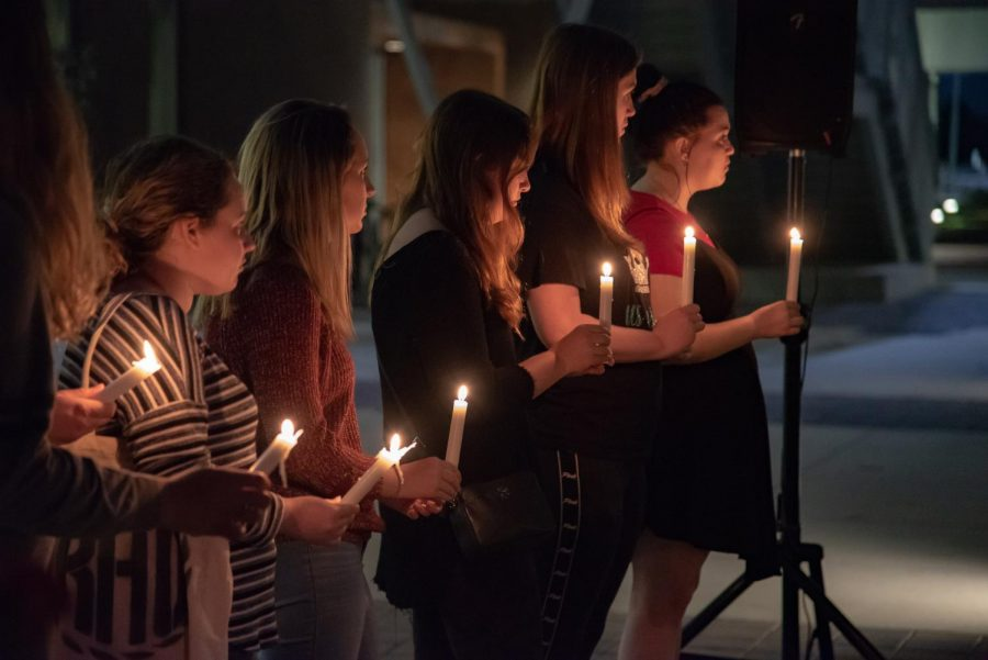 Attendees at the vigil