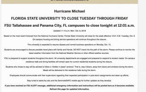 Florida State University closes campus through Friday due to Hurricane Michael