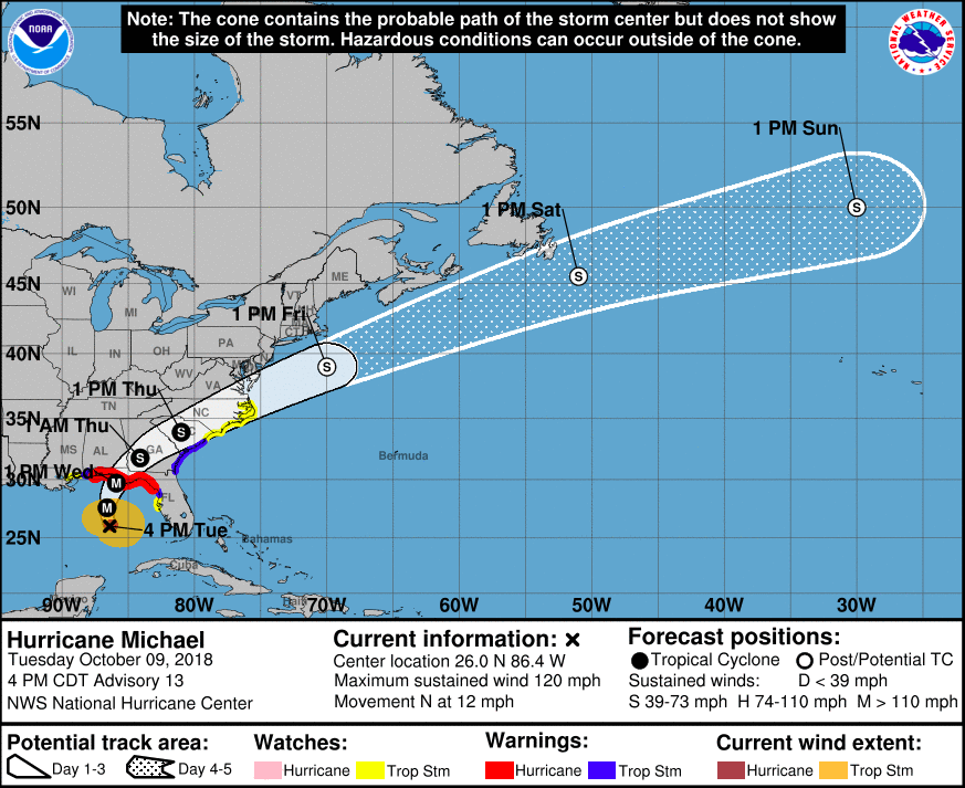 Hurricane Michael has upgraded to a Category 3 hurricane and will continue  a northeastward movement. Courtesy of the National Hurricane Center.